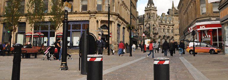 Traffic calming measures. pedestrian area bollards