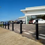 rising security bollards for car showroom. macs automated bollard systems ltd